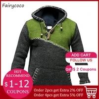 knitted sweater men hoodie pullover jumper streetwear cropped fall 2020 trendy spliced plus size stitching hooded sweatshirt