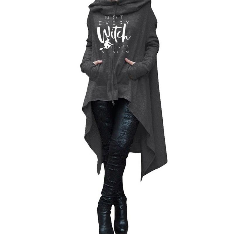 Длинные толстовки для женщин, свитшоты с длинным асимметричным рукавом и принтом ведьмы, женские толстовки, Молодежный Повседневный пулове...