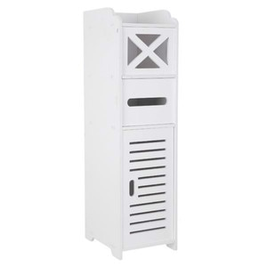 Narrow Cabinet for Pvc Toilet Cross Tissues Two Tissue Storage Narrow Bathroom White Cabinet Durable Lots of Storage(20x25x74cm)