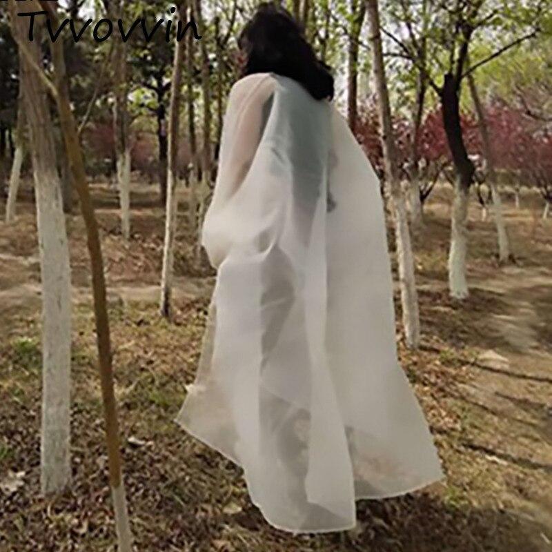 2019 nueva primavera verano v-collar de manga larga blanco de gran tamaño de Organza camisa de protección solar de las mujeres blusa de moda C806