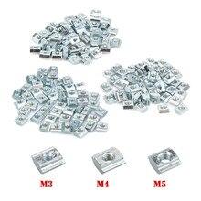 50Pcs/Set M3 M4 M5 Slot T-nut Sliding Nut For 2020 Profile Slot T Nut Aluminum Extrusions Furniture