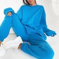womens tracksuit sports set solid long sleeve sweatshirt sweatpants sportswear two piece pants set women fall clothing 2021