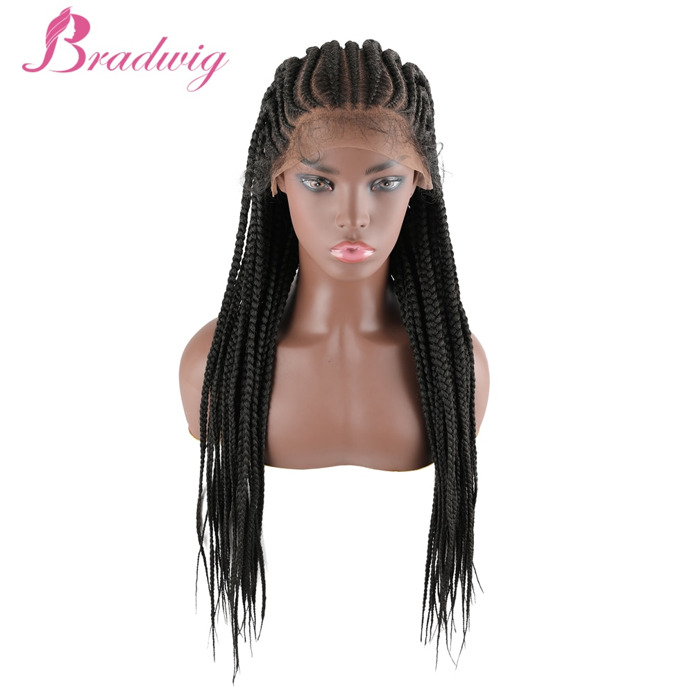 Box Braided Wigs 30 inch 13x7 Lacefront Synthetic Wig for Black Women Cornrow Braids Lace Wigs African Braids Wig with Baby Hair