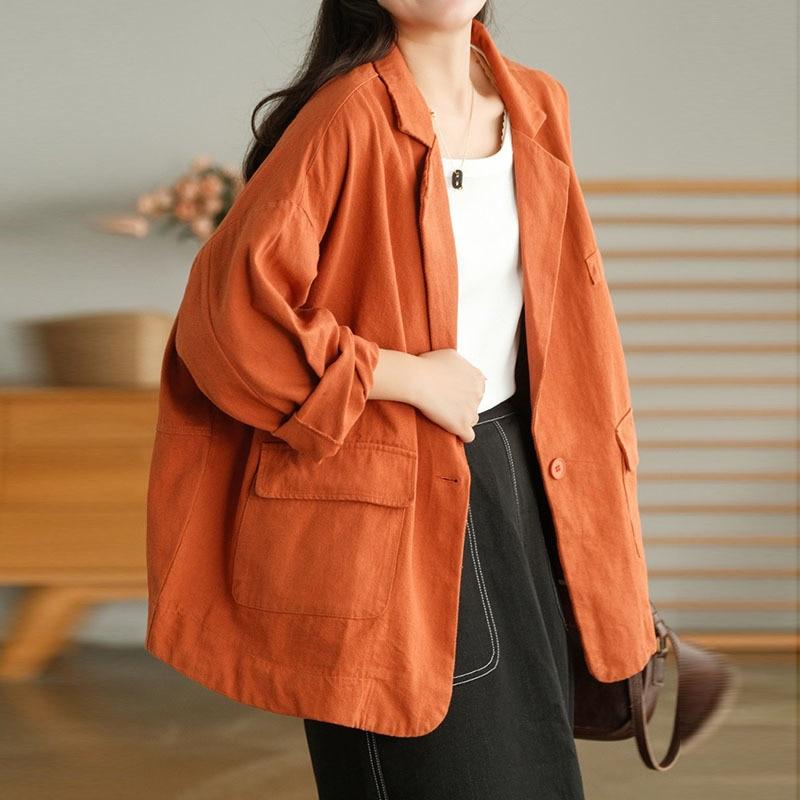 NINI WONDERLAND 2021 Autumn Loose Cotton Simple Casual Blazers Coat Women Long Sleeve Turn Down Coll