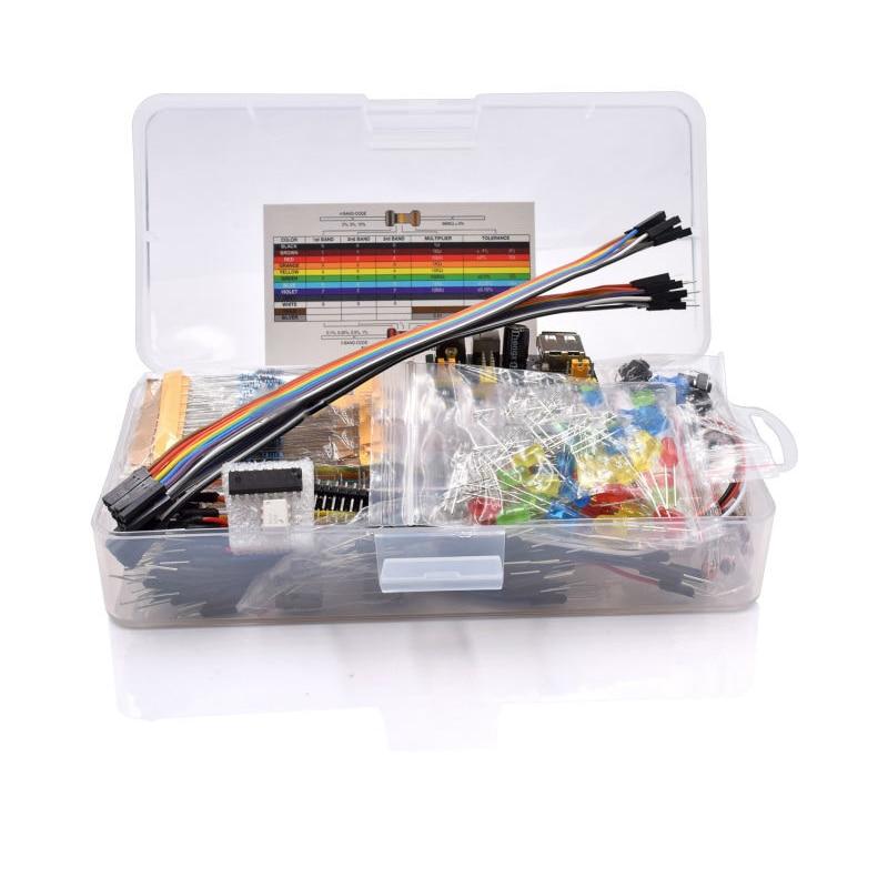 Kit básico de iniciación de componentes electrónicos GTBL con Cable de placa de pruebas de 830 puntos de amarre Capacitor potenciómetro para Led
