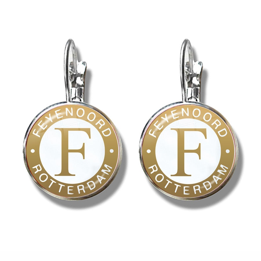 Feyenoord Rotterdam Earrings Football Club Logo Crystal Jewelry Accessories Ear Loop Dome Glass Cabochon Earrings For Women GIft