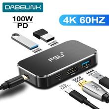 Thunderbolt 3 doca usb c tipo c para hdmi 4 k 60 hz hub pd 100 w adaptador de carregamento tipo-c hub para matebook projetor divisor interruptor