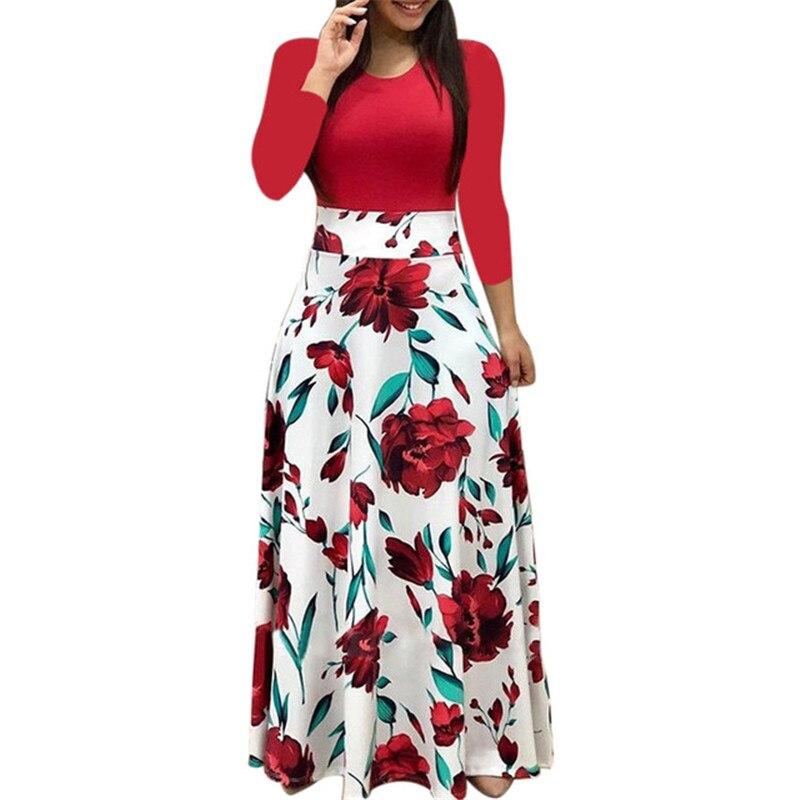 Frühling Frauen Maxi Kleid Vintage Floral Print Splice Casual Langarm Kleid 5XL Plus Größe Elegante Damen Lange Kleider Vestidos