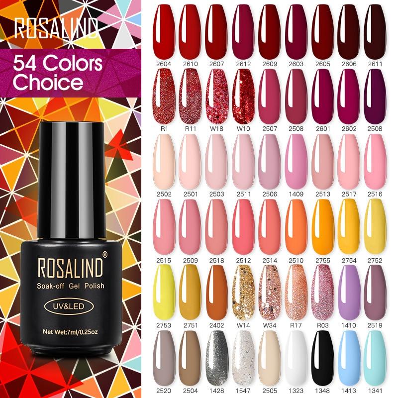 ROSALIND Nail Polish Varnish hybrid Red Series Nail Art Vernis Semi Permanent Base Top Coat UV LED Soff Off Gel nail polish