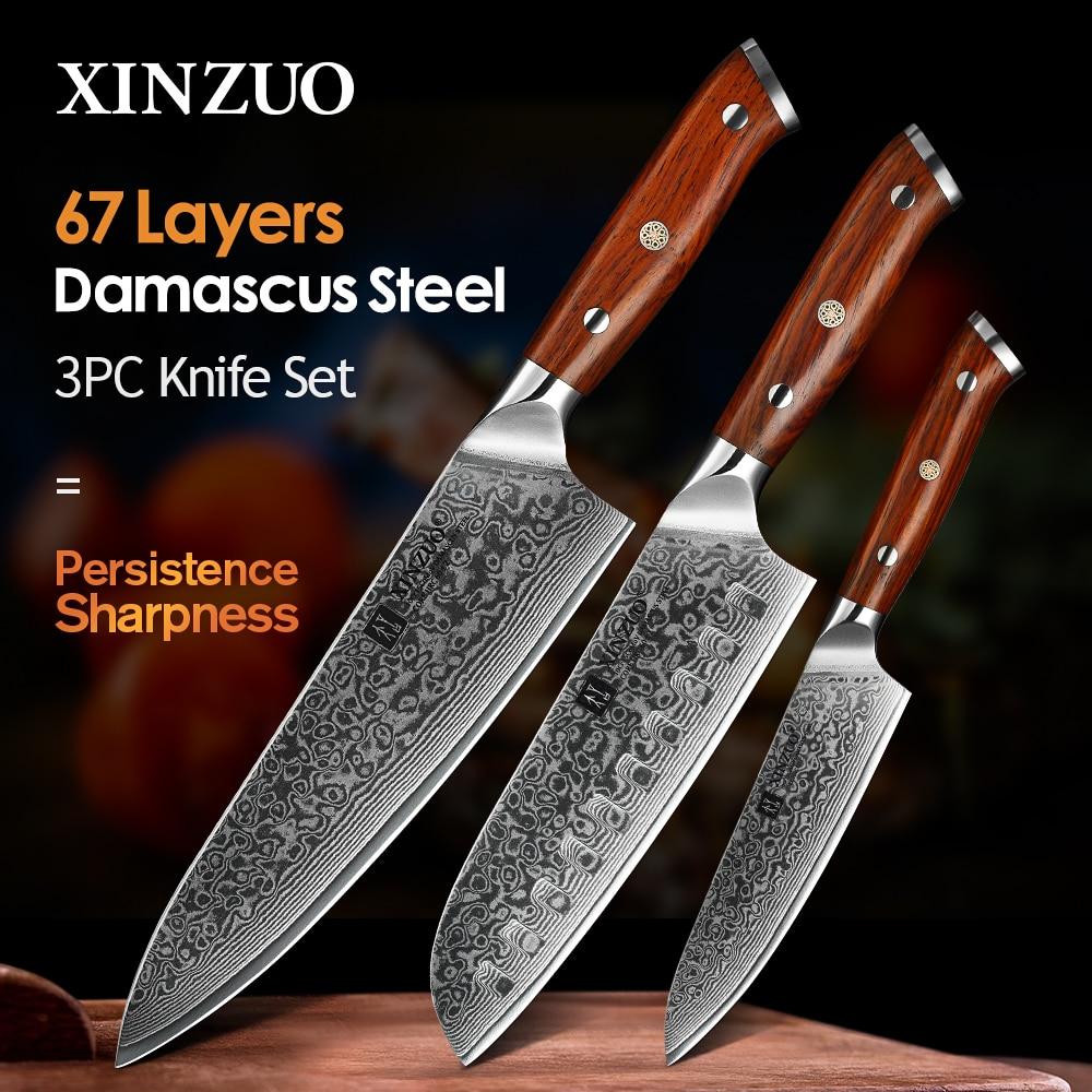 XINZUO 1 قطعة أو 3 قطعة سكين مطبخ مجموعات اليابانية مزورة دمشق طاه الصلب Santoku السكاكين الفولاذ المقاوم للصدأ روزوود مقبض