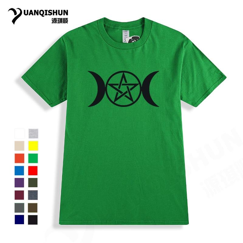 Triple Moon Goddess Wicca Pentacle Cartoon T shirt 16 Colors 100% Cotton Short sleeves Tops Tee Boutique Unisex T-shirt Harajuku
