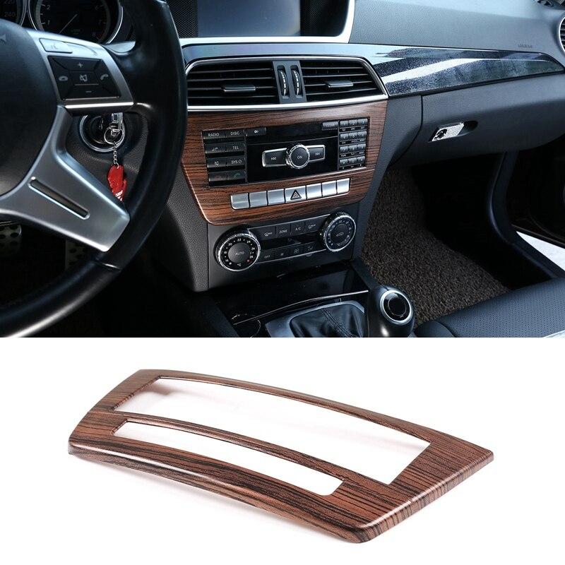 Compartimento central para coche CD Panel moldura de cubierta de marco para Mercedes-Benz Clase C W204 2010-2014 del Interior del coche (de madera de pino de grano)