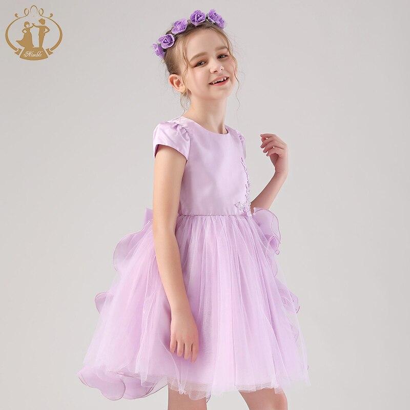 عيد الميلاد الأميرة طفل فتاة فستان 2021 حفل زفاف عيد ميلاد مراهق حفلة موسيقية 4-12Y ملابس بالجملة الأبيض الأرجواني والوردي