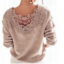 Élégant femmes pull pull hauts 2019 hiver solide rose dos nu tricoté pull dentelle couture pull à manches longues pulls