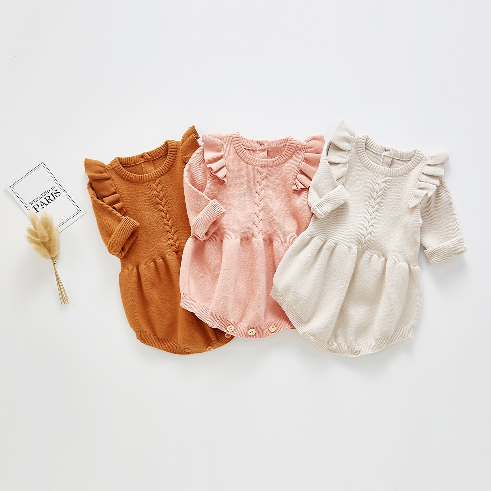2020 Newborn Baby Girls Boys Knitted Romper Baby Clothes Cotton Woolen Baby Rompers Ruffle Infant Baby Boys Jumpsuit cotton newborn baby girl romper ruffle sleeve baby rompers winter baby girls clothes toddler girl romper infant jumpsuit p35
