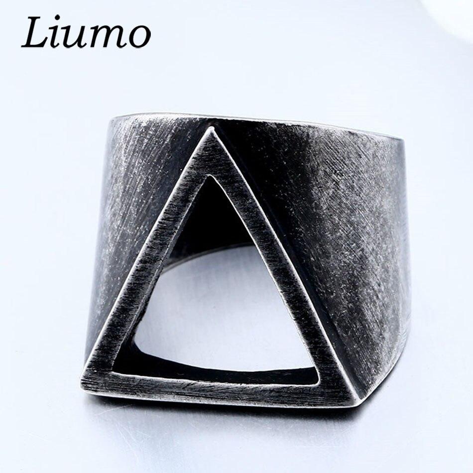 Liumo Vintage Punk estilo Negro Nórdico vikingo triángulo hueco hombre acero aleación Biker anillo Lr1058