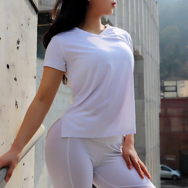 Yoga Shirt Tops Sports T -shirt Sportswear Running Women's Athletic Gym T Shirts Mesh Back Fitness Clothes For Women Lulu