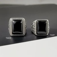 black agate ring 925 sterling silver for men retro square natural stone ring jewelry