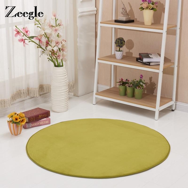 Zeegle-سجادة يوجا دائرية كبيرة ، سجادة أرضية بلون سادة ، نمط حديث ، سميك ، فرو ناعم ، لغرفة المعيشة والحمام