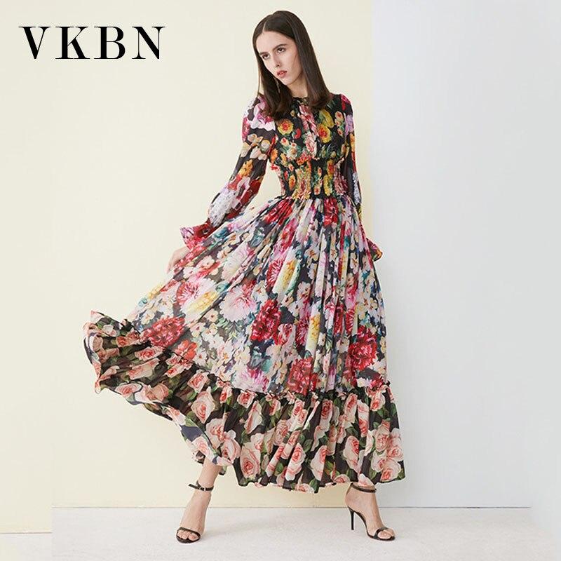 VKBN-فستان نسائي بأكمام طويلة ، ملابس أوروبية وأمريكية ، ربيع-خريف ، طباعة أنيقة