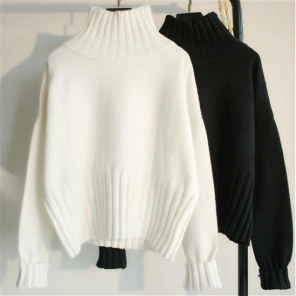 Outono inverno pulôver de gola alta camisola feminina magro malha camisolas jumpers feminino macio branco preto camisola alta qualidade 2020