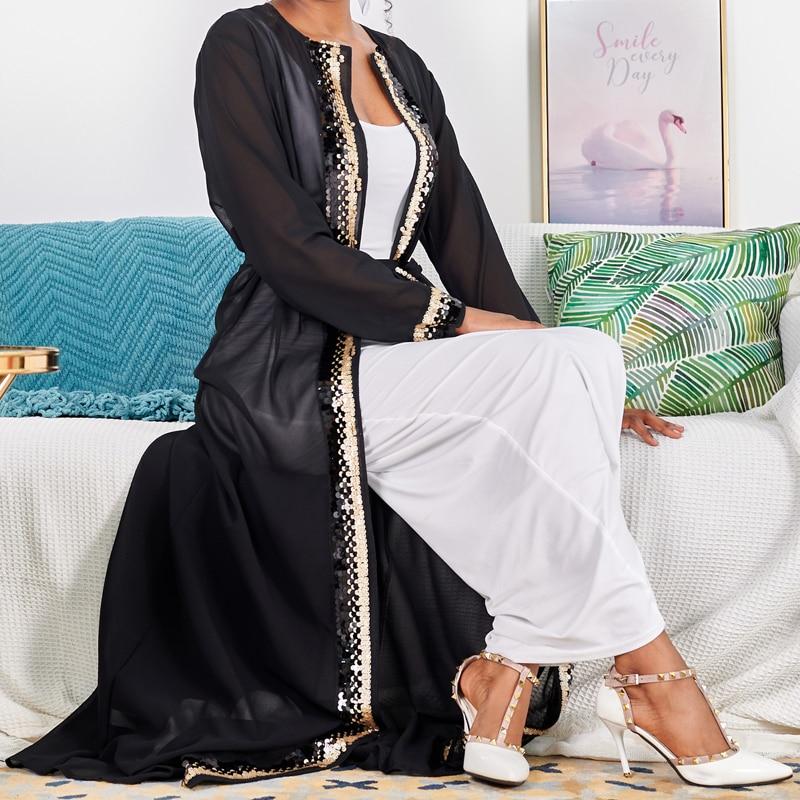 كيمونو نسائي بأكمام طويلة ، عباية مطرزة ، كارديجان ، لباس إسلامي ، لون سادة