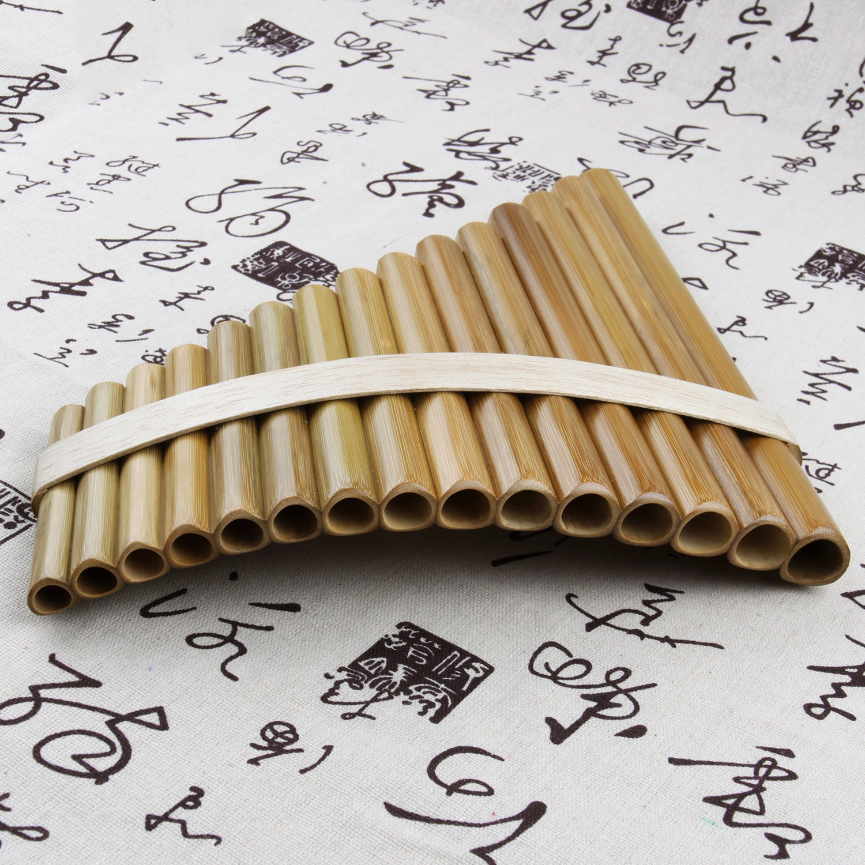 15 Pipes  Pan Flute G Key Folk Musical Instruments Original Colour Flute De Pan Woodwind Instrument Handmade Pan Pipes enlarge