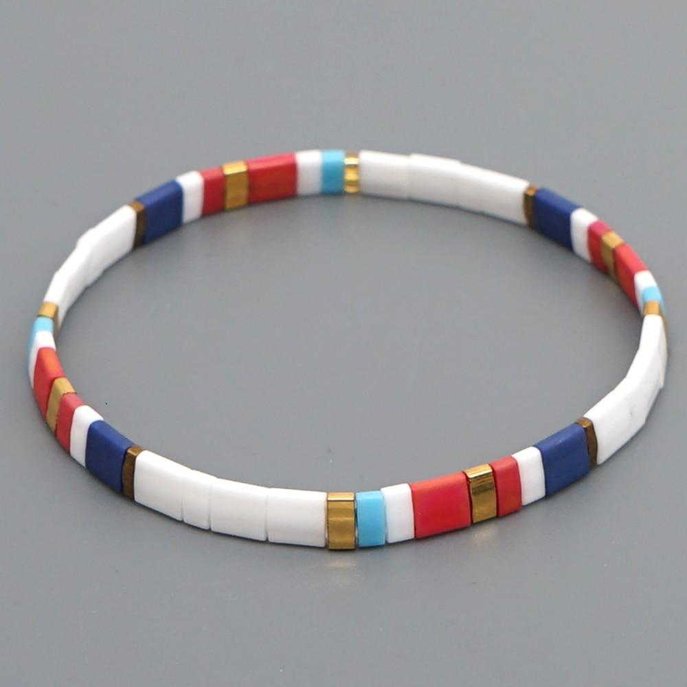 Pulsera Go2boho, pulseras bohemias para mujer, cuentas de Miyuki Tila, pulseras femeninas, joyería Bohemia a la moda, brazalete colorido