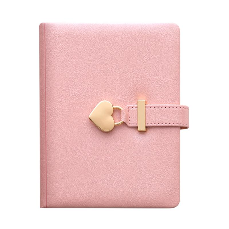 Students Notepad Diary Book Writing Notebook Pink Journal Book with Lock