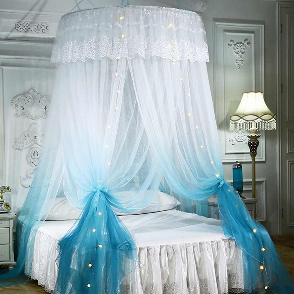 التدرج سرير الاميرة الستار خيمة المنزل قبة طوي نموسية للسرير مع هوك سقف شنت ناموسية التركيب المجاني