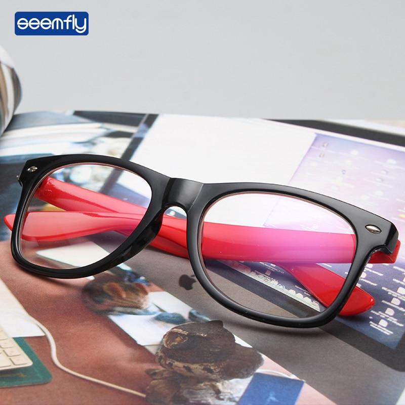 Seemfly 2021 Fashion Women Men Glasses Frame Anti Blue Light Eyeglasses Vintage Clear Lens Computer