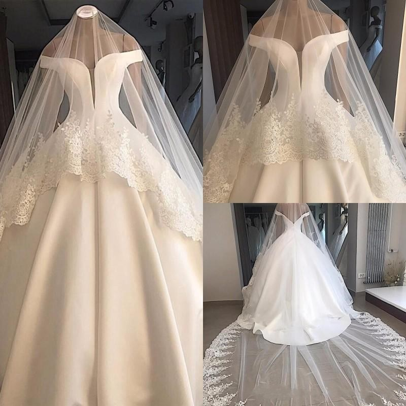 luxury long tail satin red bling ball gown wedding dresses newest sexy designer bridal wedding gowns with sleeves Cheap Simple Sexy Off Shoulder Ball Gown Wedding Dresses Pleats Satin Backless Plus Size Wedding Dress Bridal Gowns with Veils