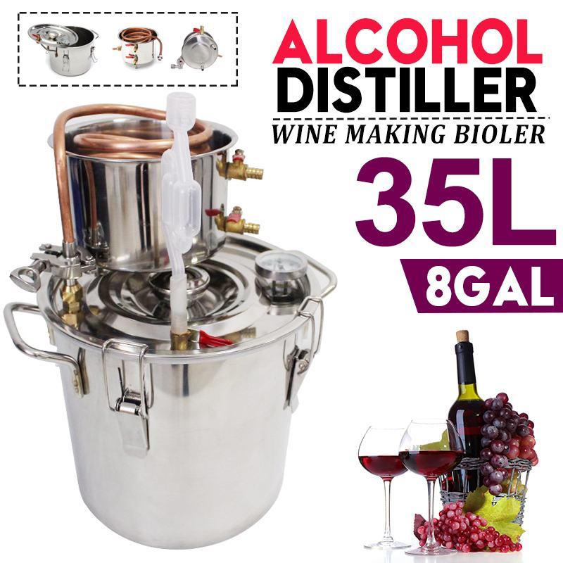 كفاءة 8 غال 35L المقطر Moonshine جهاز تقطير الكحول الفولاذ المقاوم للصدأ النحاس لتقوم بها بنفسك المنزل المياه النبيذ براندي زيت طبيعي طقم تخمير