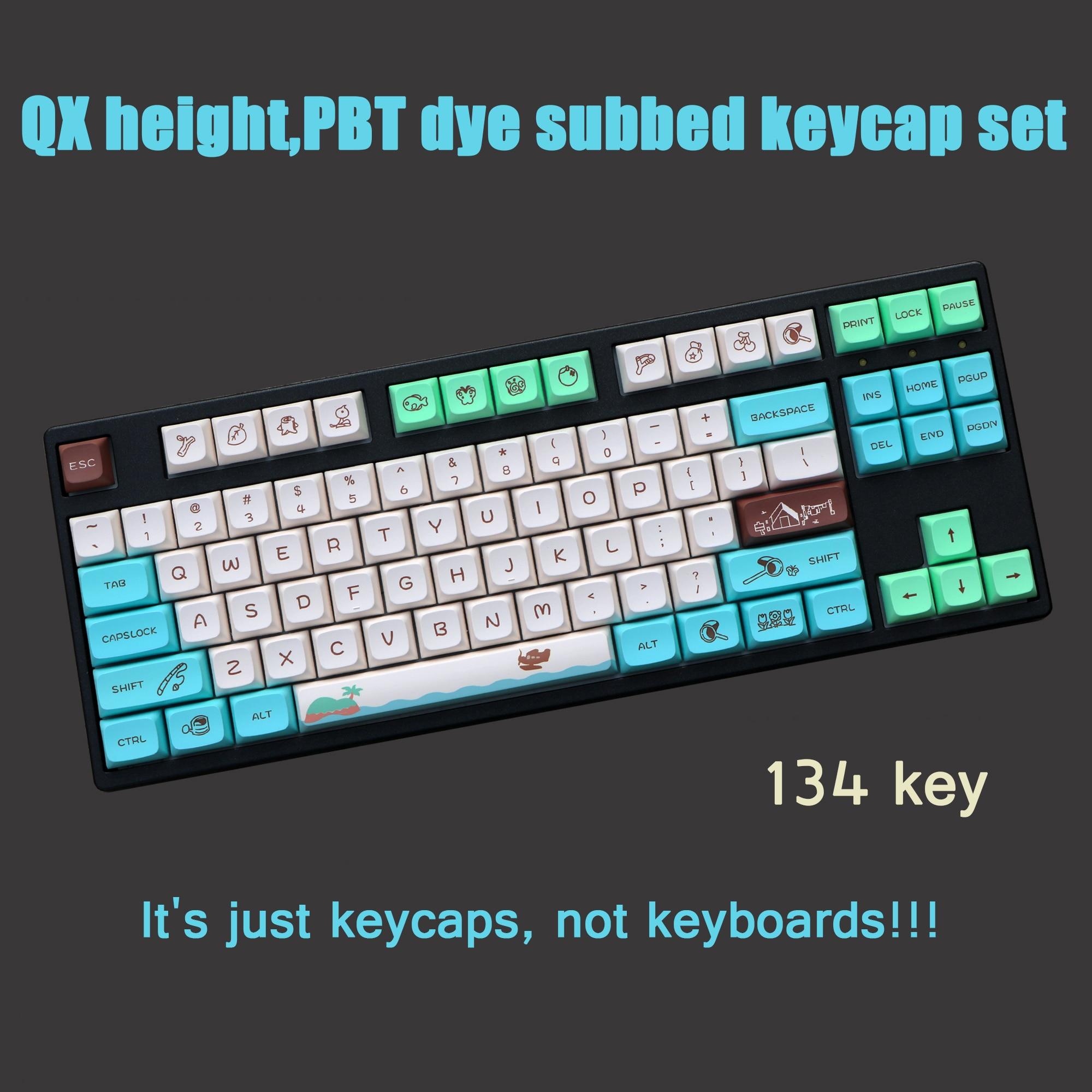 لوحة المفاتيح الميكانيكية QX ارتفاع كيكابس لذاكرة الطفولة موضوع 134 مفاتيح/مجموعة PBT صبغ غطاء مفتاح Subbed ل MX التبديل