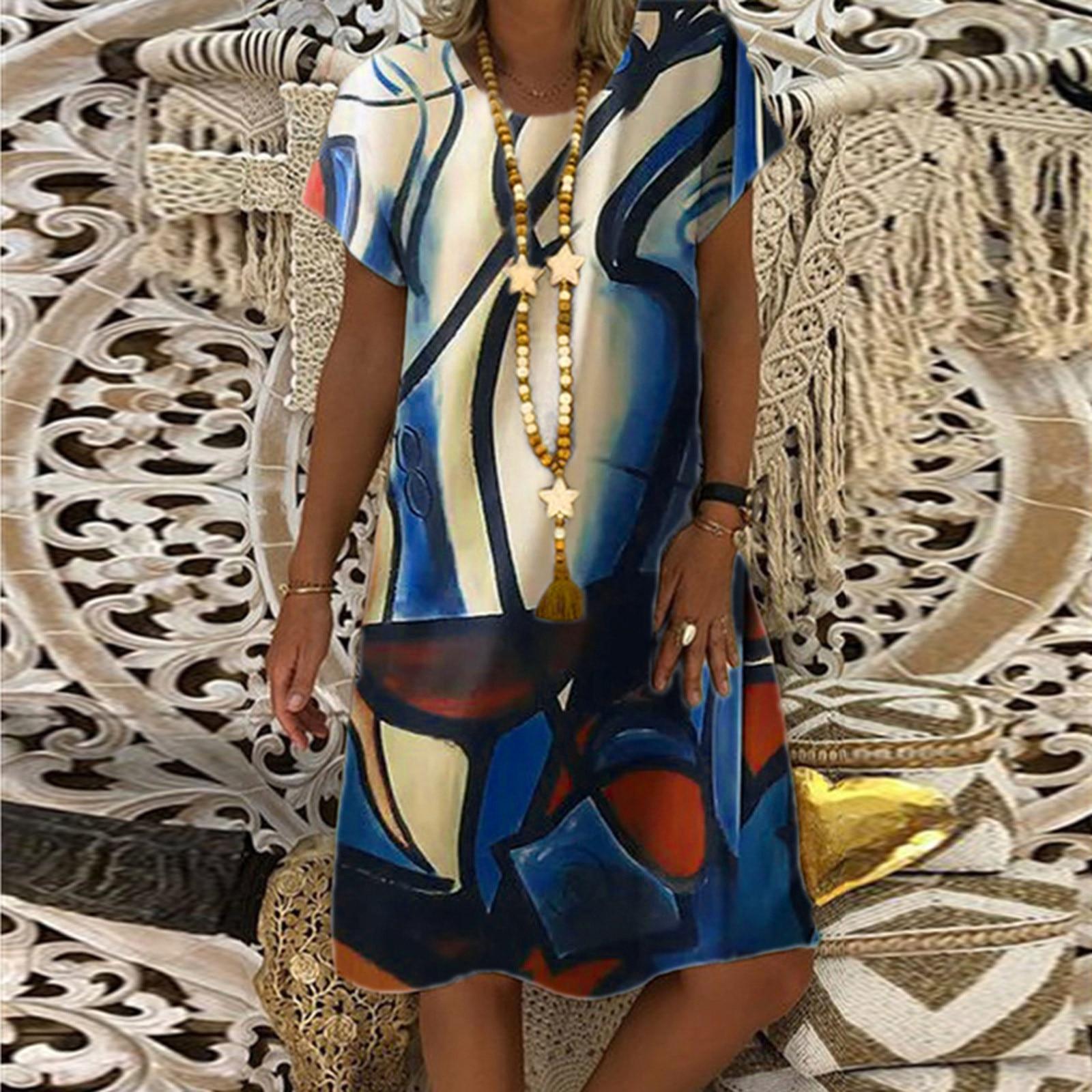 Vintage vestido de moda para mujer cuello redondo de manga corta vestido...