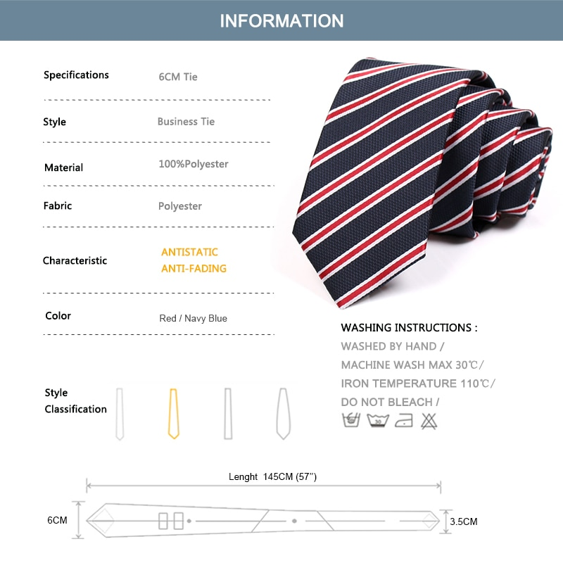 2020 New Fashion Formal Neck Tie For Men Business Suit Work Necktie Men 6CM Red Blue Striped Tie Male Slim Ties With Gift Box