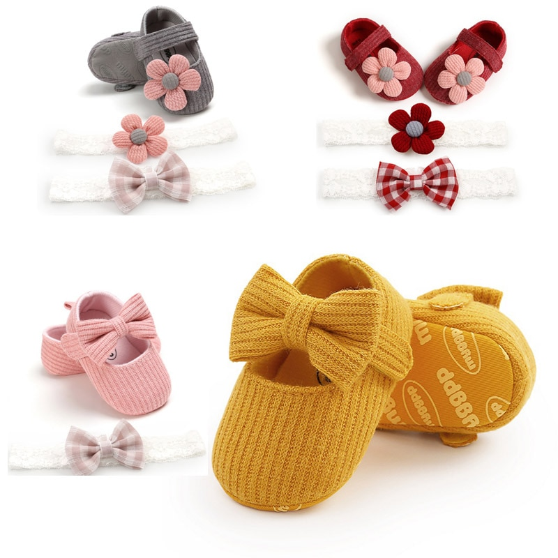 0-18M First Walkers cotton soft solid toddler shoes new born Anti-slip Sneakers bow baby shoes girls with Headwear Party Girls