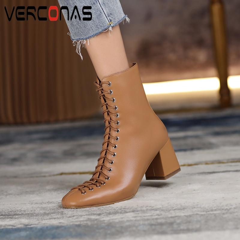 VERCONAS الموضة امرأة حذاء من الجلد عالية الجودة جلد طبيعي اليدوية الخريف الشتاء الأحذية عبر تعادل عالية الكعب الأحذية امرأة