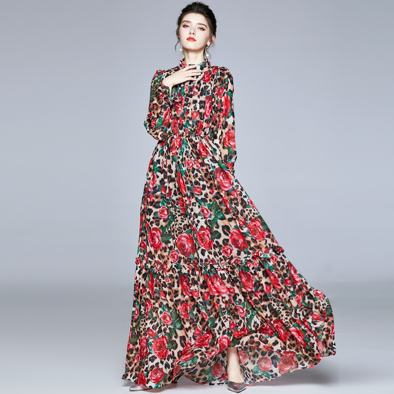 ZUOMAN Women Spring Elegant Chiffon Dress Festa High Quality Long Maxi Vintage Party Robe Femme Flor