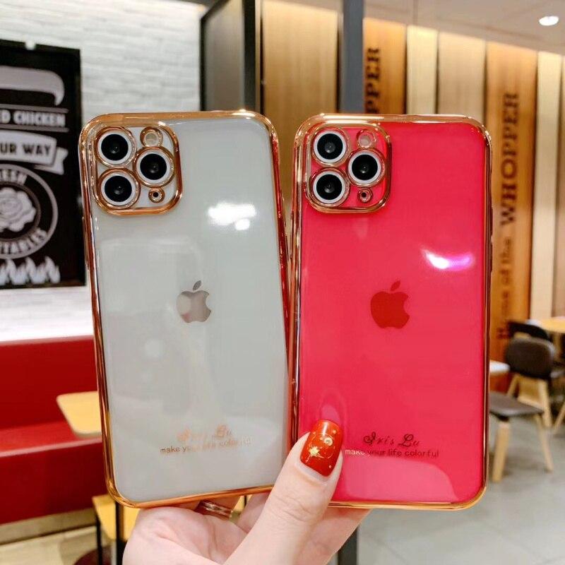 Lujosas carcasas galvanizadas de silicona chapada en oro para iphone 11 Pro XS MAX X XR SE 7 8 plus, fundas blandas de naranja, azul, rosa y rojo