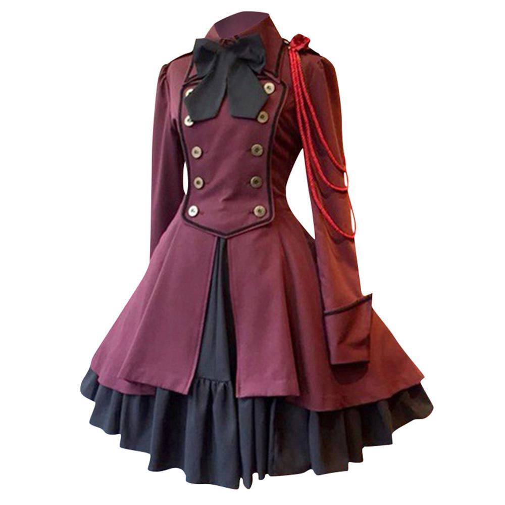 gothic lolita dress plus size Fashion Women Vintage Long Sleeve Gothic Court Square Collar Patchwork Cute Princess Small Dress