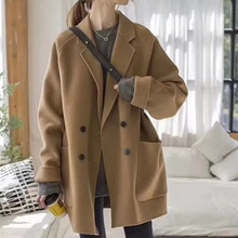 Women Autumn Coat New Mid Length Loose  Long Sleeve Solide Color Button Pocket Casual Simple Elegant