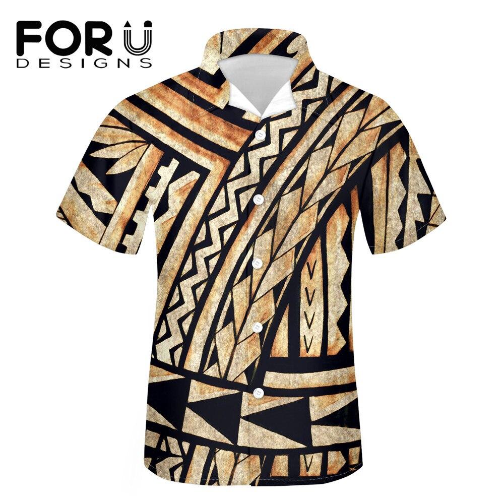 FORUDESIGNS летние мужские рубашки, полинезийское племя, Дизайнерские повседневные свободные пляжные рубашки, большие размеры, мужская рубашка ...