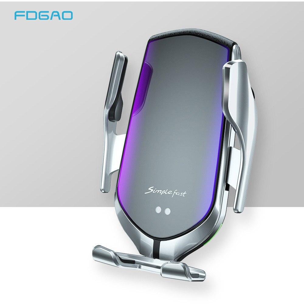 Cargador inalámbrico automático de 10W FDGAO soporte de teléfono de carga rápida Qi para iPhone 11 XS XR X 8 Samsung S10 S9 S8 Note 10 9