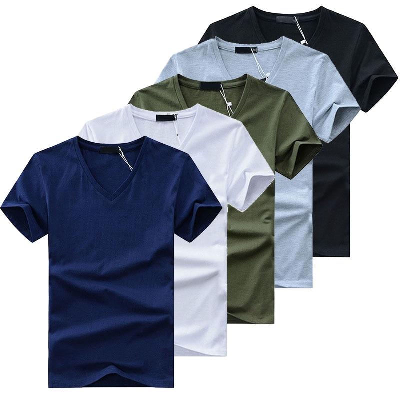 5Pcs/Lot High Quality Fashion Men's T-Shirts V Neck Short Sleeve T Shirt Solid Casual Men Cotton Tops Tee Shirt Summer Clothing