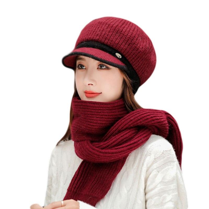 Шапка-бини Женская, осенне-зимняя шапка, теплая шапка, Женская лыжи, набор из шапки и шарфа шапка, женская вязаная шапка