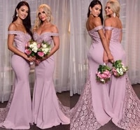 yiminpwp lace mermaid bridesmaid dresses off shoulder sweep train appliques wedding guest party gowns maid of honor dress