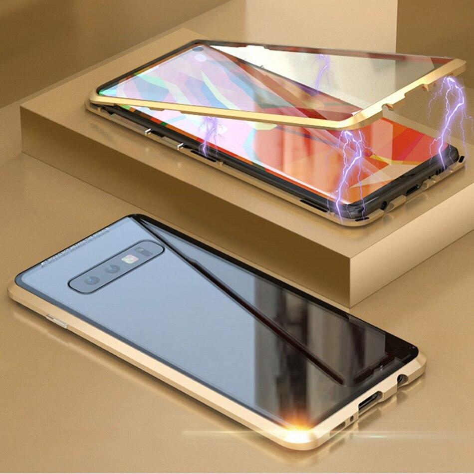 360 Doppelseitige Glas Magnetische Fall Für Samsung Galaxy S9 S8 S10 Plus Hinweis 9 8 A30 A7 A9 Metall magnet Gehärtetem Glas Capinhas