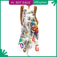 MOVOKAKA Letter Cartoon printed Casual Beach Dress 2021 Plus Size Long Dresses Summer Woman V Neck S