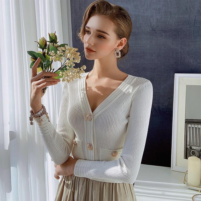 Dabuwawa Casual Spring Autumn Women Cardigan Elegant Solid Long Sleeve Slim Sweater Fashion Female Knitted Sweater DO1AZK003 enlarge